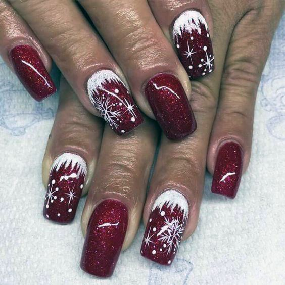Cherry Red And White Snow Nails Women