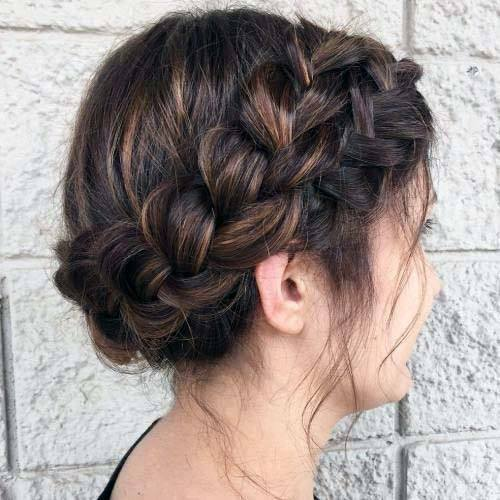 Chestnut Brown Hair On Female Pulled Back Into Braided Hairstyle