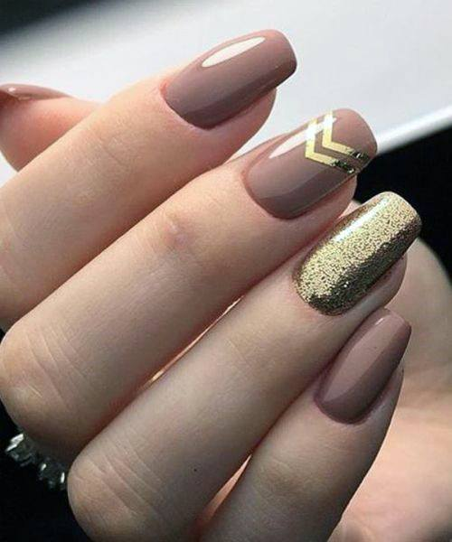 Chevron Glinting Gold And Brown Nails Women
