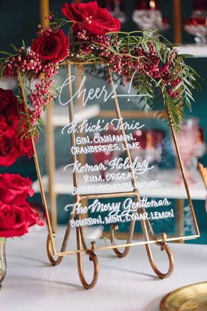 Chic Christmas Wedding Flowers On Name Plate