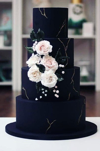 Chic Modern Black Tiered Cake With Gold Marbeling Inspiration Wedding Cake Ideas