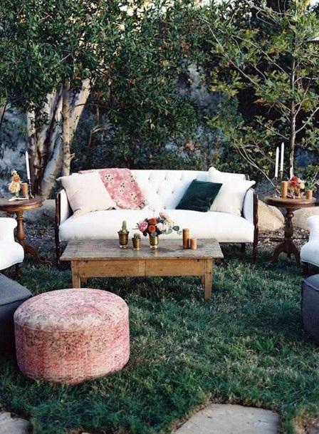 Chic Outdoor Cocktail Lounge Backyard Wedding Ideas