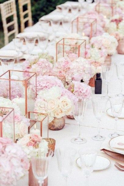 Chic Wedding Table Decor Blush Flowers