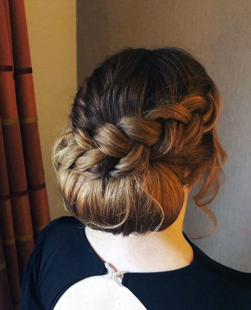 Chignon W Dutch Braid Hairstyle Women