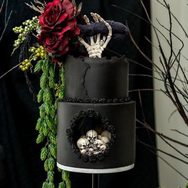 Chilling Black Halloween Wedding Cakes