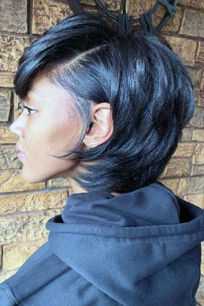 Chin Length Bob With Short Layers Tucked Behind Ear Womens Airy Hairstyles