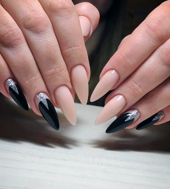 Chiq Long Black Nails With Silver Decorations Women