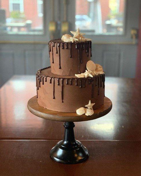 Chocolate 2 Tier Wedding Cake