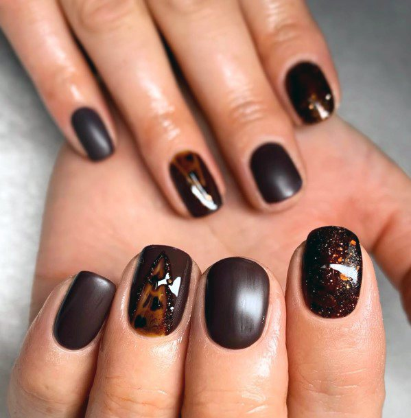 Chocolate Brown Art On Nails For Women