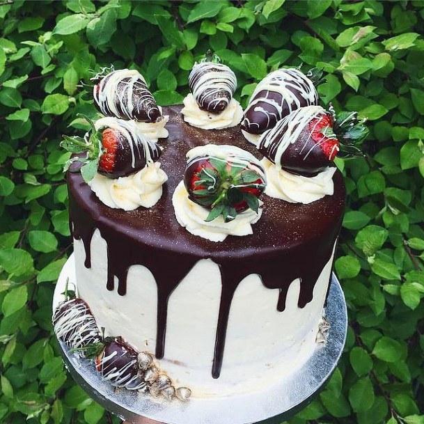 Chocolate Topped Strawberries Red Velvet Wedding Cake