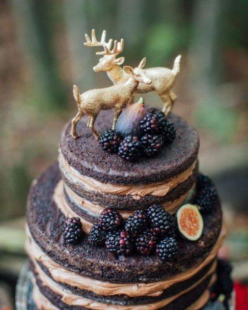Chocolate Wedding Cake With Deer Art