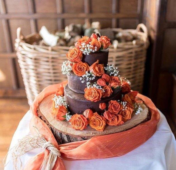 Chocolate Wedding Cake With Orange Roses