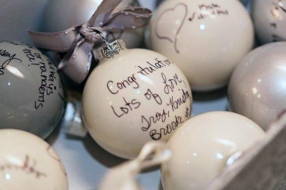 Christmas Inspired Ornaments Wedding Guest Book Ideas