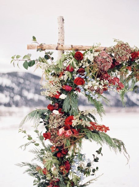 Christmas Wedding Flowers Arch