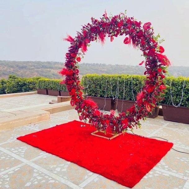 Circular Art Red Indian Wedding Flowers