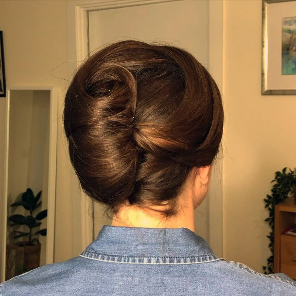 Classic Brunette French Twist With A Round The Head Twist For Women And Girls