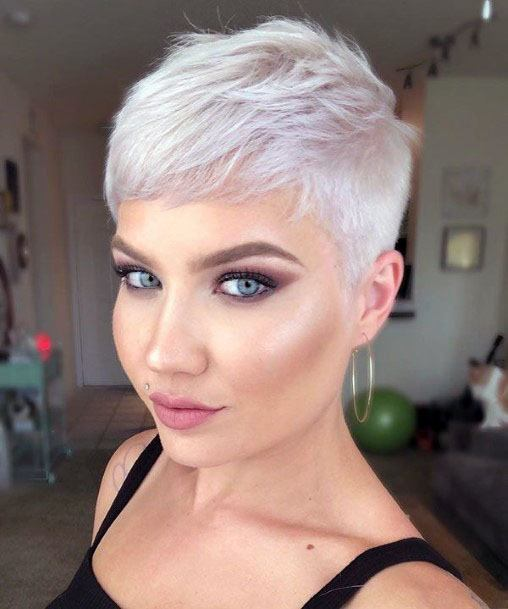 Classic Close Cropped Silver Pixie Hairstyle Women