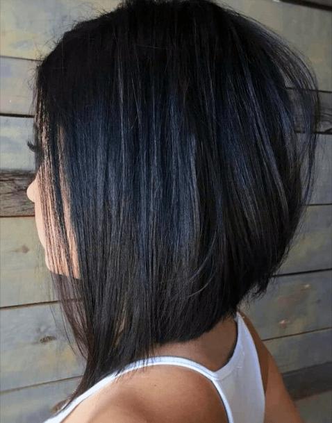 Classic Dark Asymmetrical Bob Hairstyle Women