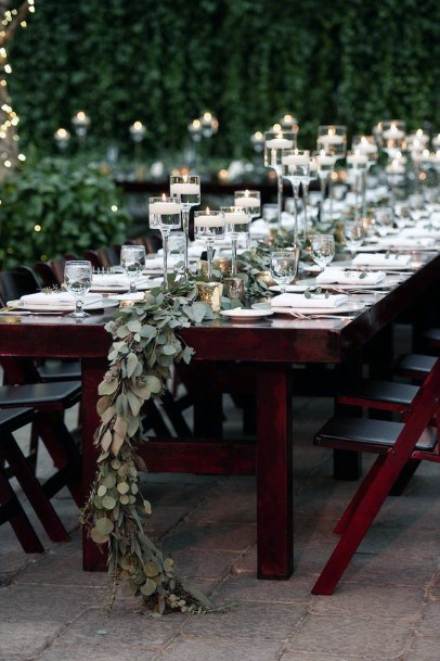 Classic Greenery Garland With Tall Candle Stands Wedding Centerpiece Ideas