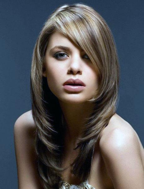 Classic Layered Side Swept Hairstyle Women