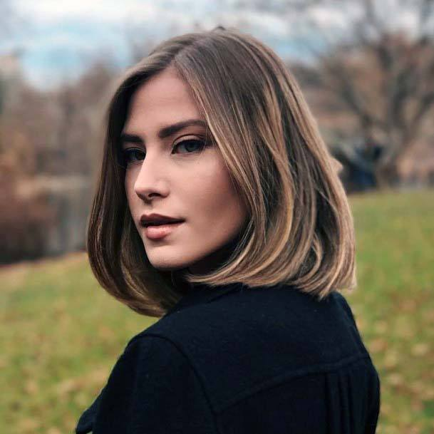 Classic Middle Parted Chin Length Hair Women