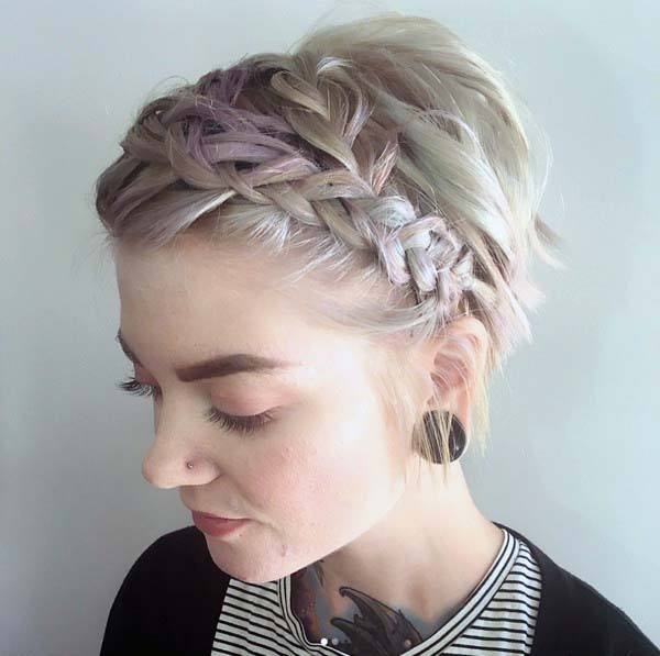 Classic Ombre Tinged Braided Pixie Women Hairstyle