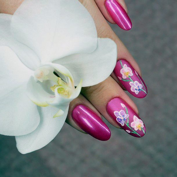 Classic Pink Orchid Nails