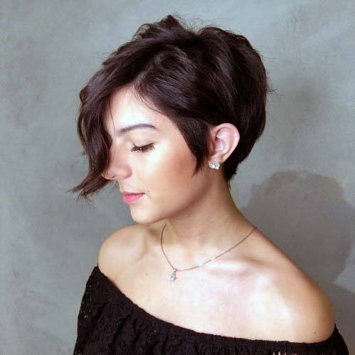 Classic Pixie With Long Bangs Hairstyle Women