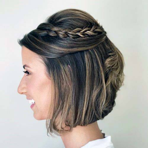Classic Puffed Crown Braided Chin Length Hairstyle Women