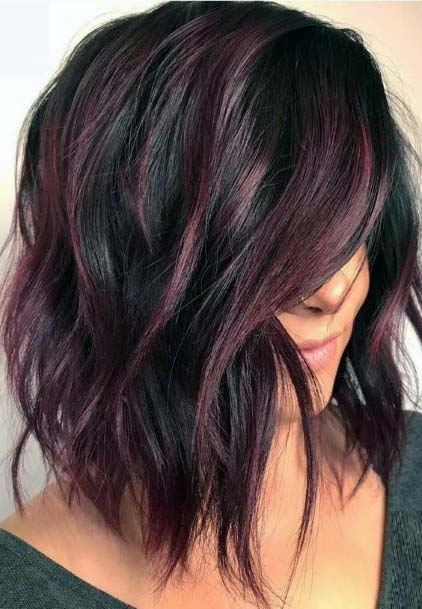 Classic Rose Highlighted Shaggy Hairstyle For Women