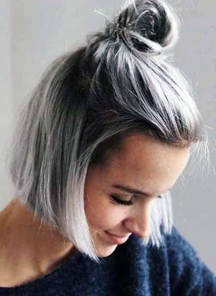 Classic Salt Pepper Half Updo Hairstyle Women