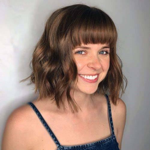 Classic Short Wavy Hair With Straight Bangs