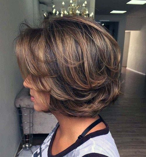 Classic Side Swoop Layered Bob Thick Hair
