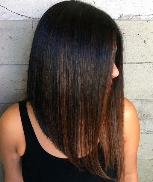 Classic Straight Ironed Brunette Haircut