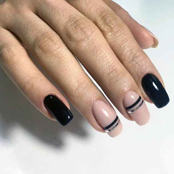 Classy Black And Nude Shellac Nails Art For Women