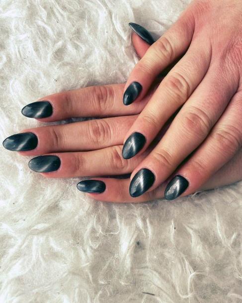 Classy Grey Dark Cat Eye Nails