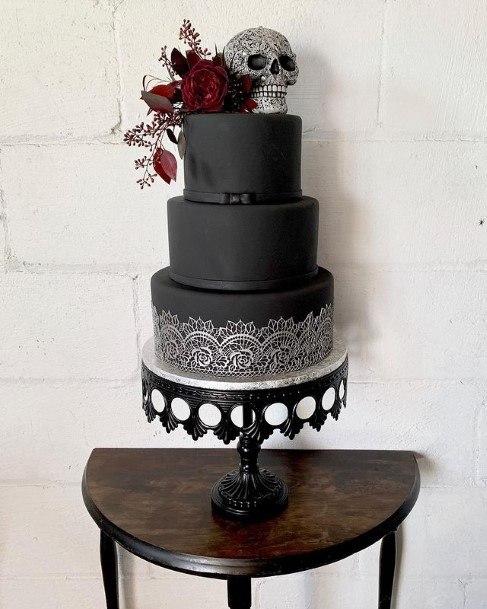 Classy Lace Art On Black Halloween Skull Wedding Cakes