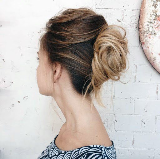 Classy Messy Highlighted French Twist With A Subtle Horn For Women And Girls
