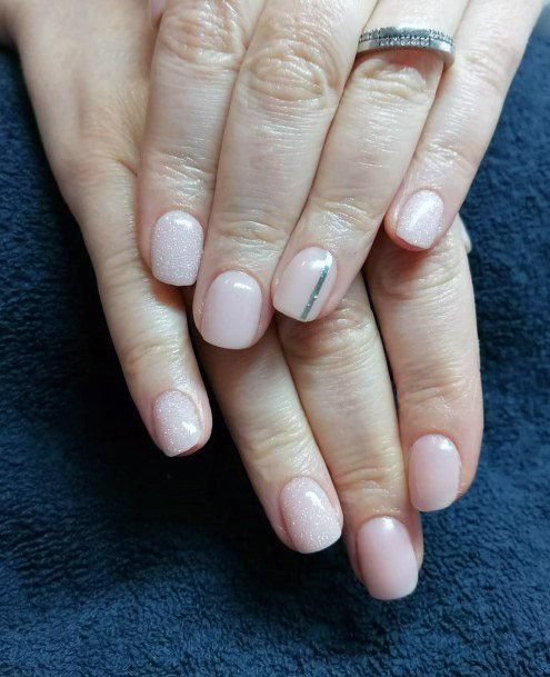 Classy Nude Nails With Silver Line For Women