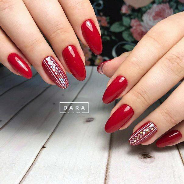 Classy Silver Art On Bright Red Nails For Women