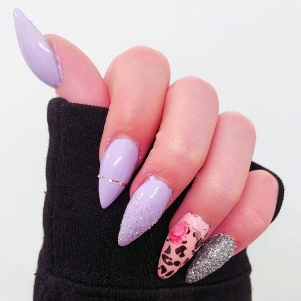 Classy Sugar Nails With Leopard Print Lavendar Color Women