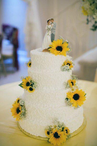 Classy Sunflower Wedding Cakes Women