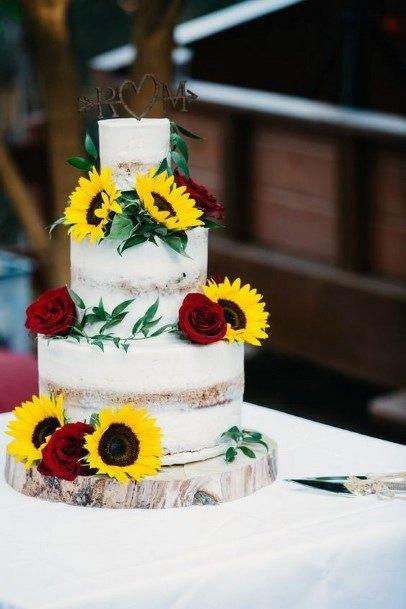 Classy Wedding Womens Cake Sunflowers