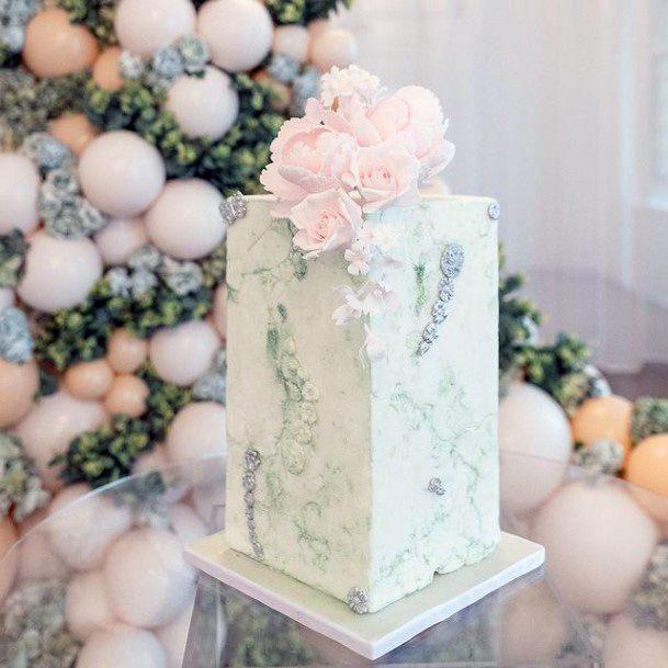 Classy White Square Wedding Cake