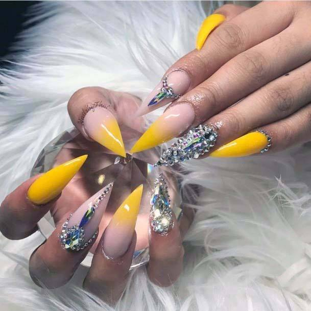 Claw Nails Bling And Bright Yellow For Women