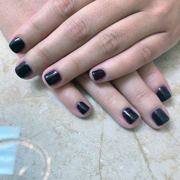 Clean Black Short Nails Women