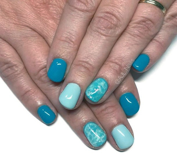 Clean Bold Water Blue Nails Women