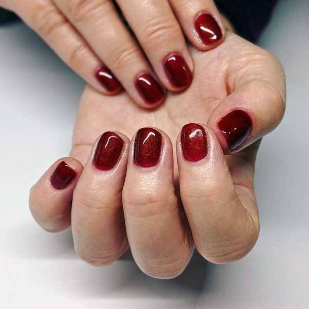 Clean Dark Cherry Red Colored Nails