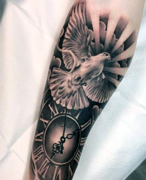 Clock And Dove Tattoo Womens Hands