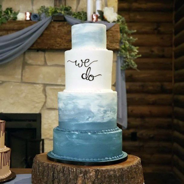 Clouds Art Blue And White Wedding Cake